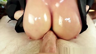 Asian milf gagging on a huge cock in pov