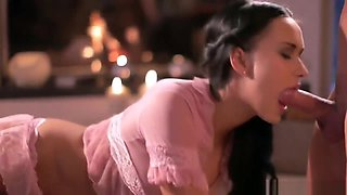 Pretty Pink Babe Gives Amazing CFNM Blowjob