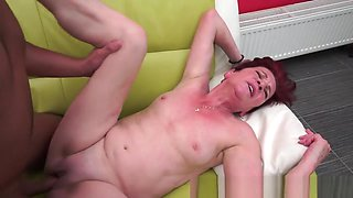 Redhead granny jizzed on after fucking