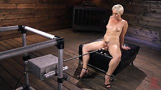 Short haired blonde MILF slut Helena Locke abused by machines