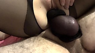 Girl in crotchless pantyhose sitting on my cock in nylon