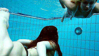 Two hot lesbians in the pool