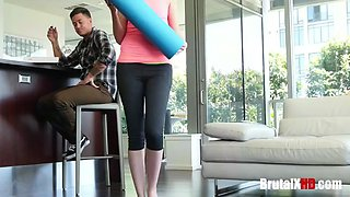Yoga stepsister forced by annoyed brother