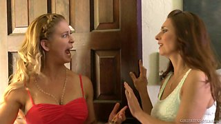 Juggy lesbians Mindi Mink and her girlfriend enjoy crazy strapon fuck