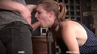 Feet and arms of Ashley Lane chained as she gets abused with cock