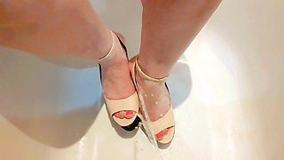 Piss on BBW Wife Wedges Feet Heels