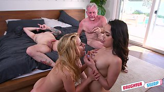 Blonde and brunette, insane home foursome and cock swapping