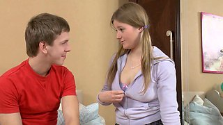 Busty Russian teen hard fucked by her step brother