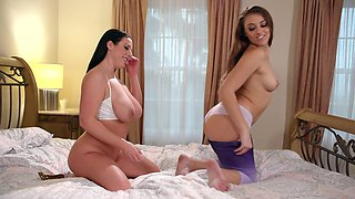 Lesbian anal toying with buxom babes Angela White and Gia Derza