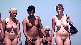 Voyeur Nudist Beach Couple Walking