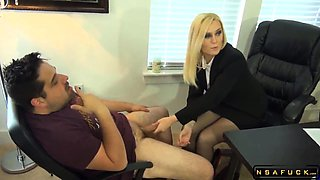 Pantyhosed blonde milf works her hands and feet on a cock