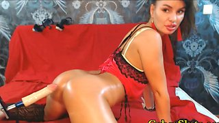 Most beautiful ass teasing with oiled sex machine