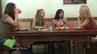 Slender lesbian teen gets eaten out