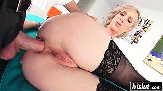 Fat dick destroys her tight ass
