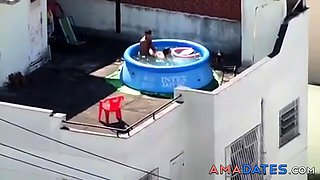 Girls watching couple fuck at pool CFNM