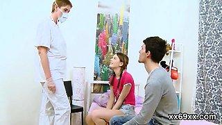 Physician looks hymen examination and virgin teenie pounding