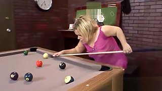 Midget naughty while playing pool