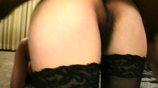 Stacked brunette cougar in heat has two studs fucking her tight holes