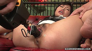 Several kinky dudes finger fuck and toy hairy snatch of Asian hooker Mika Shindo