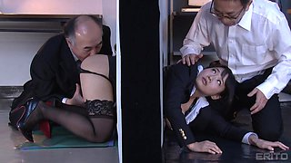 two older men fucking a hot japanese babe in the office