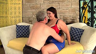 Chubby Babe Angel DeLuca Rides Old Dick
