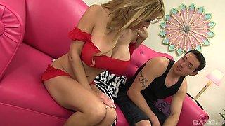 Busty Alyssa Lynn gets talked into jumping on a fat pecker