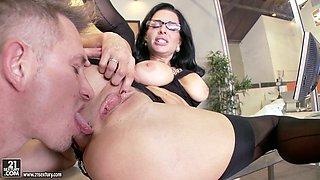 Boss in Glasses and Lingerie Veronica Avluv Having Sex in the Office