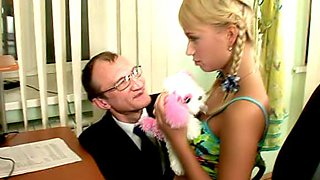 Innocent young student Alina didn't imagine that this old fart will drill her tight teen pussy during the class