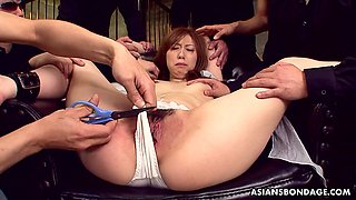 Ardent rather flexible Japanese nympho Karin Yazawa gets lubed pussy teased