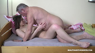 That old man is a panty sniffer and today he finally fucks his stepdaughter