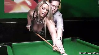 Pool table sex for chunky blonde
