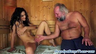Euro babe and grandpa