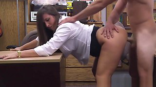 Broke classy mature pounded in office by pawnbroker
