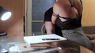 Tutor fuck beautiful but dumb student with big boobs in POV porn