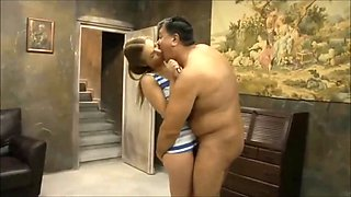 Old fat guy with sexy young slut