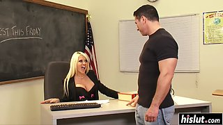 Blonde teacher fucks a handsome student