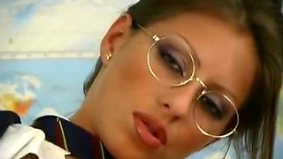 girl in glasses masturbates