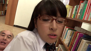 Sex In The Library With Horny School Girl