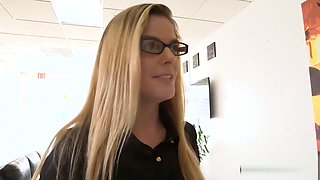 Blonde with glasses pounded for money