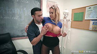 Horny teacher in miniskirt doggystyle smashed in class