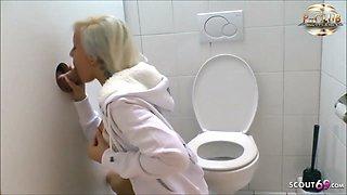 Fuck Stranger Dick at Glory Hole - German Teen at Toilet