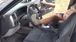 farm girl masturbates in her car and gets a huge cumshot - YummyCouple