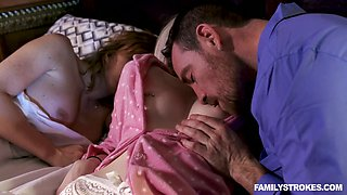 Horny tanned hubby cheats on sleeping wife with fresh blonde girl