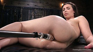 Professional model Casey Calvert is testing new vibrator and fucking machine