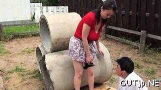 Lewd busty asian mature maid Emiko Ejima adores fucking