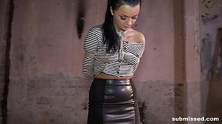 Cute brunette Daphne Klyde tied up during a BDSM experience