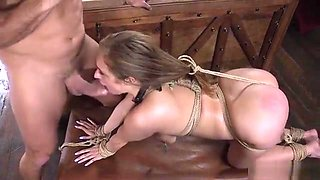 Busty slave squirting during fucking
