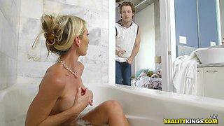 blonde milf caught masturbating in the tub