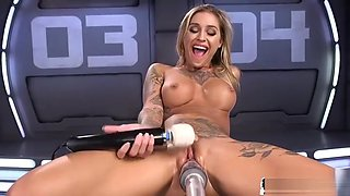 Masturbating solo babe pounded by sex machine