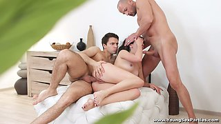 Curious slender girl Katty West is ready for wild double penetration